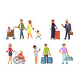 different travelers characters vector image vector image