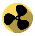 fan sign flat black icon with flat shadow vector image vector image