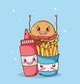 fast food cute french fries burger and tomato vector image