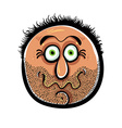 Funny cartoon face with stubble vector image vector image