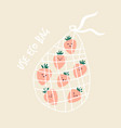 funny strawberries in reusable mesh shopping bag vector image vector image