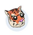 funny tiger wearing fashion sunglasses hand drawn vector image