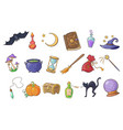 halloween magic signs set wizard hat magic book vector image vector image