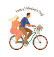 happy couple is riding a bicycle together vector image
