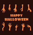 happy halloween banner hands vector image vector image