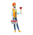 Hindu plumber holding plunger and tool box