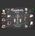 holiday christmas menu design with champagne vector image vector image