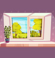home window with beautiful view outside vector image vector image