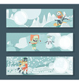 Horizontal banners with monsters playing outdoor vector image vector image