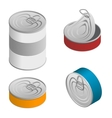 Isometric set of Opened and closed food tin cans vector image
