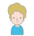 line color man with casual t-shirt and hairstyle vector image