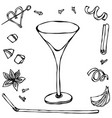 margarita coctail glass hand drawn vector image vector image