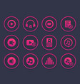 music audio player icons set vector image vector image