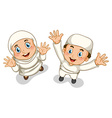 Muslim boy and girl vector image vector image