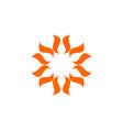 orange star circle flower logo template design vector image vector image