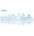 outline medan indonesia city skyline with blue vector image vector image