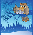 owl family in winter vector image