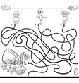 paths maze with kids and candy coloring book vector image vector image