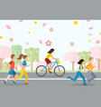 people running and cycling active healthy vector image