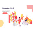 reception desk concept isometric design concept vector image