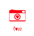 Red and white photo camera with heart Love card vector image