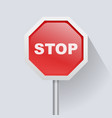 red road sign with text stop icon vector image