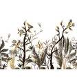 seamless border with golden and metallic leaves vector image vector image