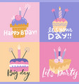 set colorful square birthday greeting cards vector image
