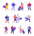 set flat hotel staff and guests characters vector image