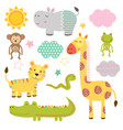 set isolated bajungle animals part 2 vector image vector image