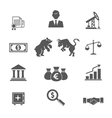 Set of black and white financial stock icons vector image vector image