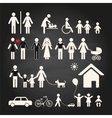 Set of family icons on a chalkboard background vector image