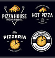 set pizza logo badges banners emblems vector image