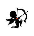 silhouette cupid shooting with his bow vector image vector image