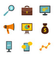 social media marketing icons set flat style vector image vector image