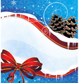 Sparkling Christmas background with pine cones and vector image