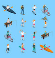 summer outdoor activity people icon set vector image