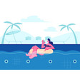 summertime leisure vacation young happy woman vector image