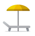 sunbed and parasol icon vector image vector image