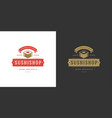 sushi logo and badge japanese food restaurant with vector image vector image