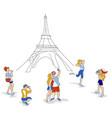 travelers in paris vector image