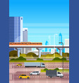 urban background modern cityscape with highway vector image vector image