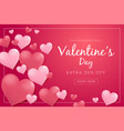 valentines day sale poster with 3d hearts vector image