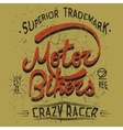 vintage trademark with motor bikers text vector image vector image