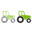 wheeled tractor collage of service tools vector image