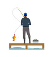 wooden placing and fisher catching a fish banner vector image vector image