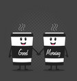 two happy cartoon cups of coffee vector image