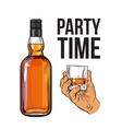 Whiskey bottle and hand holding full shot glass vector image