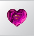 3d paper cut heart with layered carving shapes vector image