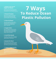 7 ways to reduce ocean plastic pollution - ecology vector image vector image